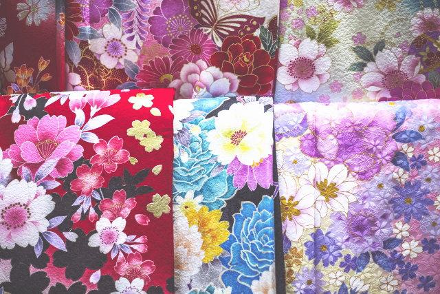 花柄の着物